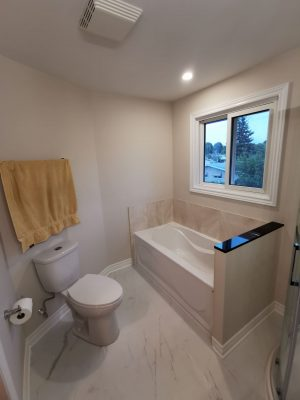 luxury bathroom with small bathtub - renovations ottawa