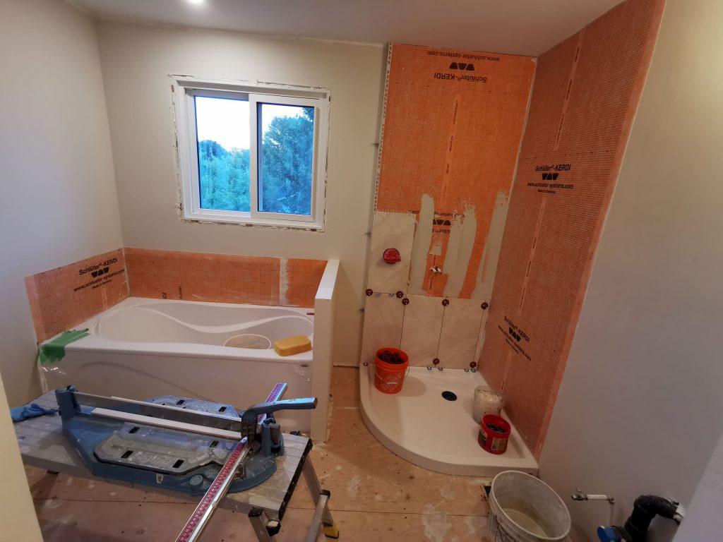 in progress of bathroom renovation