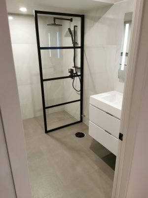 small basement bathroom with walk in bathroom